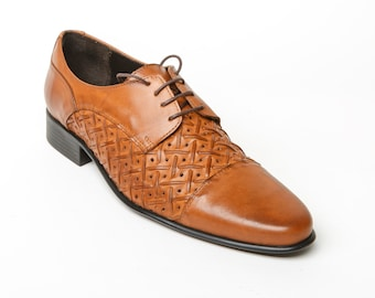 Men's shoes cuoio mens shoes, Men's leather woven cuoio shoes, leather oxford shoes, mens oxford shoes, mens camel oxford shoes