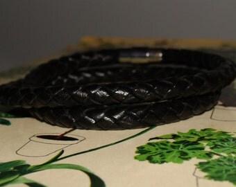 Black Braided Leather Wrap Bracelet