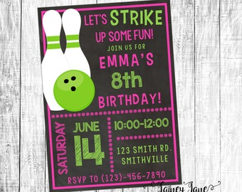 Birthday Invitation, Bowling Party Invitation, Customized Birthday Invitation, Customized Invitation, Bowling Birthday Party Invitation