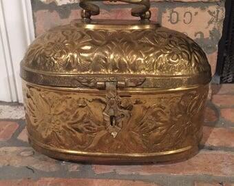 Vintage Brass Cicket Box with Bow Handle- Home Decor- Brass Decor- Palm Beach Regency- Centerpiece- Hollywood Regency- Rustic Home Decor