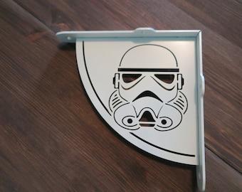 Stormtrooper shelf brackets, bookshelf, rack, support, shelf hanger, metal wall bracket, industrial, set of 2, white, black, StarWars
