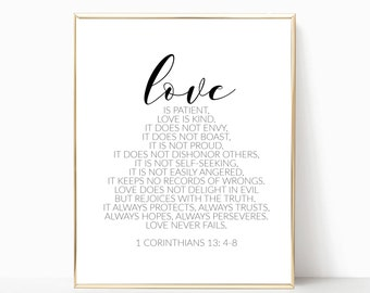 Love is patient love is kind print, 1 Corinthians 13:4-8 print, printable, art print, wall art, bible verse art, bible verse, home decor