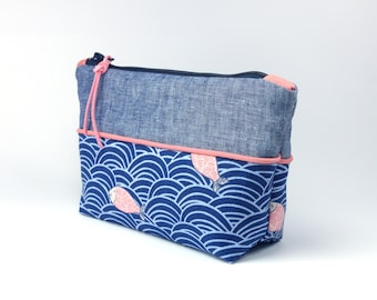 Japanese Fabric - Cosmetic Bag - blue white pink - Cotton & coated Linen inside