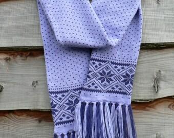 Fair Isle Knitted Scarf, winter fashion, snowflake pattern