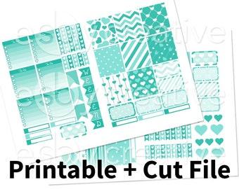 Teal Hearts - Weekly Sticker Kit Printable for Erin Condren Horizontal - HWK-003 - INSTANT DOWNLOAD