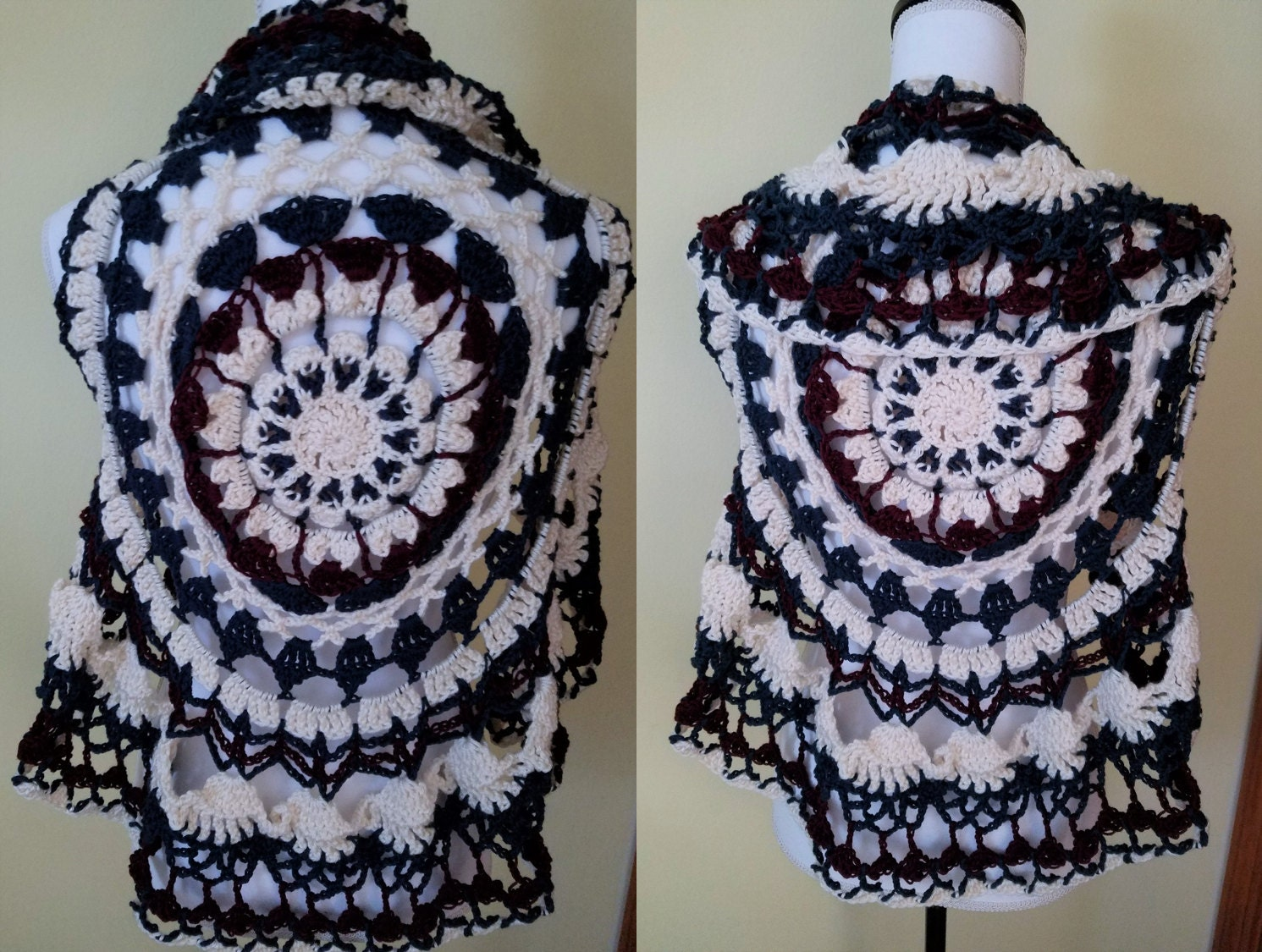 Blue maroon and cream crocheted mandala circle vest summer description this mandala inspired crochet circle vest bankloansurffo Choice Image