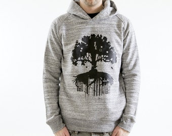FAIRWEAR organic Hoodie sweater grey black TREE