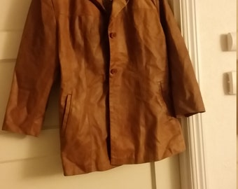SPECIAL DEAL!!/Camel Italian Leather Jacket/Vera Pelle/Vintage XL