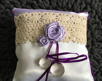 Wedding Ring Pillow, Ring Bearer Pillow, Wedding Pillow, Wedding Ring Pillow, Ring Bearer, Lace Ring Pillow, Rustic Wedding, Ring Cushion