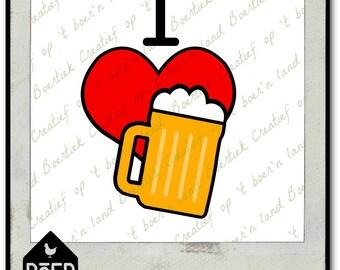 I love beer, SVG/Studio?PDF/JPG file, cutting file