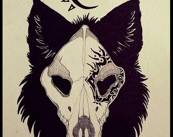 Tribal Wolf Original Art Piece