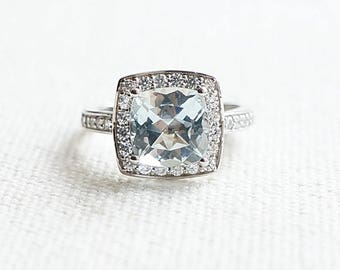 Cushion Cut aquamarine ring in 925 silver with 18k white gold plated, Engagement Ring set in aquamarine