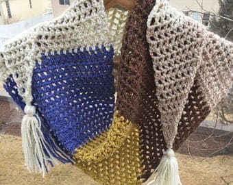 READY TO SHIP Triangle Crochet Scarf with Tassels