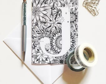 Zentangle Cards, Letter J Cards, Greeting Cards, Personalised Cards, Zentangle Cards, Initial Cards, Alphabet Cards, Hand Drawn Cards