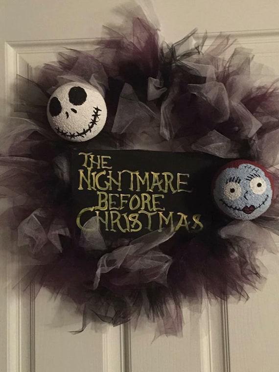 Homemade Wreath, Jack and Sally, The Nightmare Before Christmas, Custom Wreaths, Halloween Wreaths, Christmas Wreaths, Tulle Wreaths