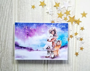 Illustrated Hand Painted Watercolour Happy Holidays Nordic Fairytale Christmas Card.  Inuit Children with Baby Polar Bear Northern Lights
