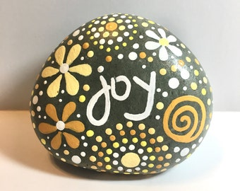 Inspirational river rock, river rock, stone, stone art, river rock art, hand painted rock, joy, inspirational art, inspirational rock art