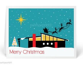 Mid-Century Modern Vintage Christmas Cards, Printed Retro 1950s Vintage Holiday Cards, Retro Mod Christmas Cards - 36850