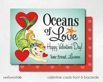 Vintage Mermaid Valentine Cards, Digital Printable 1950s Mermaid Valentine Card, Digital Valentine Cards, Retro Girls Valentine DIVAL85