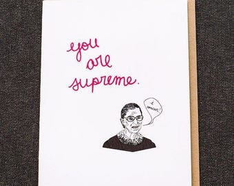 Ruth Bader Ginsburg Cards, RBG, Supreme, Funny Cards, Birthday Card, RBG Gift, Thank You Cards, lawyer gift, Feminist Cards, Friendship Card