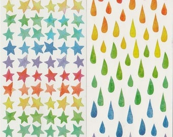 Watercolor Star/Drops Planner Stickers