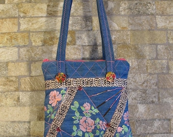 Rose flower patchwork bag