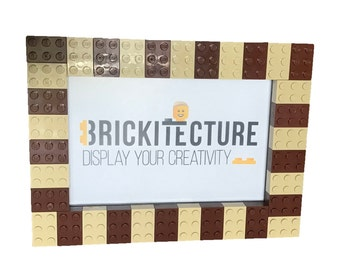 Picture Frame - Brown/Tan - Authentic LEGO Bricks Attached