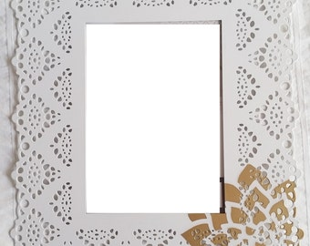 White Lace 5 x 7 Frame with gold dahlia flower