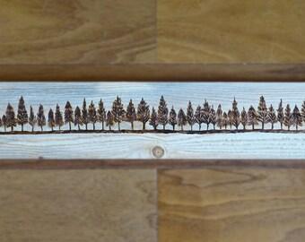 Rustic Treeline pyrography art on pallet wood