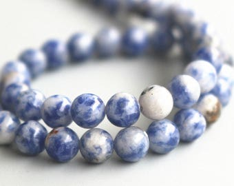 """15 """" one strand ,4mm 6mm 8mm 10mm 12mm Blue Spot Beads, Natural And Smooth Round Beads"""