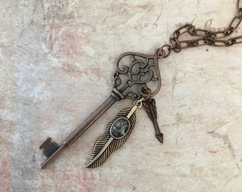 Skeleton key pendant necklace