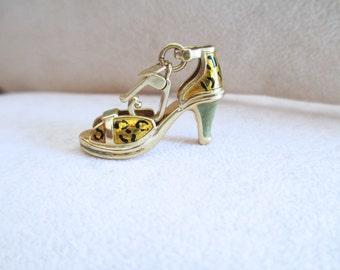 18 kt gold sandal PINK enamel CHARM PENDANT gr 4.2 x 2.9 cm retractable mesh 4.90 Big Bags & Shoes