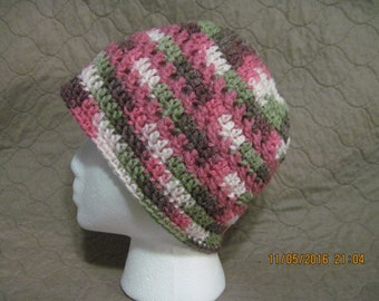 pink, moss, brown and cream beanie