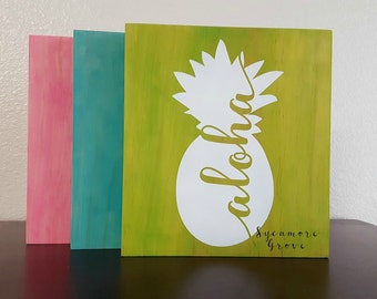 "Wooden sign ""Aloha"" with Hawaiian pineapple, hanging welcome sign, shelf sitter, wall art, home decor"