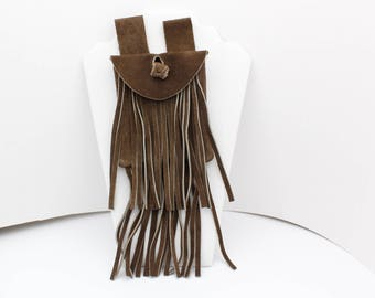 Brown Suede Fringed Belt Pouch