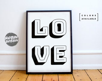 L O V E - Love - Poster with Love - Wall Decor - Minimal Art - Home Decor - Valentines Gift - Anniversary Gift