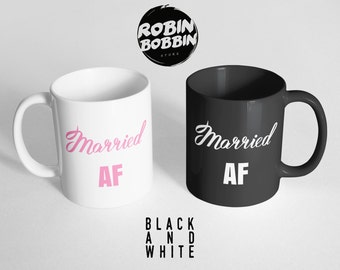 New Family Gift - Married AF - Weeding Gift for Best Friend - Wedding Planning Mug, Black and White