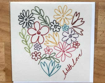 With love floral heart greeting card