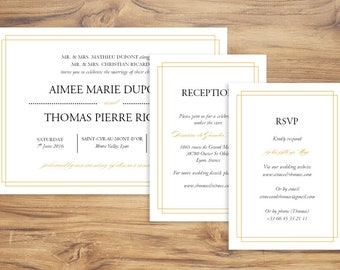 Art Deco Wedding Printable Invitation. Clean, Classic Frame Theme Template. Instant Download and Edit on Word.