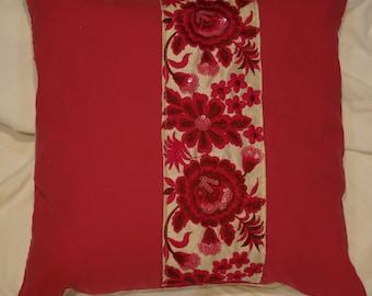 Indian 1 garden series: Cushion, 40 x 40, or 16 x 16 cotton fuchsia pink, cotton beige, fuchsia Indian embroideries.
