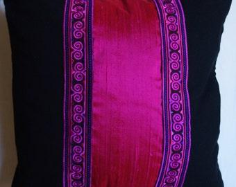 Pink Thai 6 series: cushion, 40x40cm (16 x 16), Indian dupion silk, hot pink, thai fuchsia pink, cotton embroidered lace black.