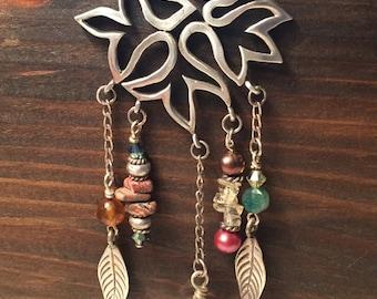 Falling Leaf Sterling Silver Gemstone Necklace