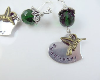 Hand stamped sweetheart hummingbird earrings