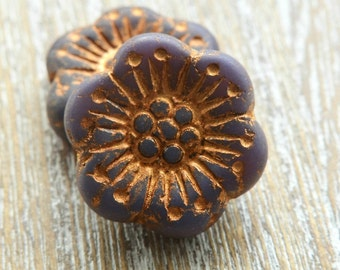 Czech Glass Anemone Flower Beads Vintage Purple 18mm, Czech Glass Flowers, Czech Beads, Purple Czech Beads, Jewellery Supplies, Flower Beads