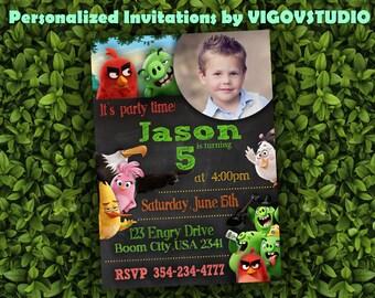 Angry Birds Invitation-Angry Birds Birthday Invitation-Angry Birds Party-Angry Birds Invites-Angry Birds Printables-Angry Birds Chalkboard