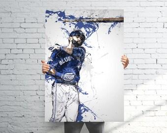 Jose Bautista Toronto Blue Jays - Sports Art Print Poster - Watercolor Abstract Paint Splash - Kids Decor - Gifts for Men - Man Cave
