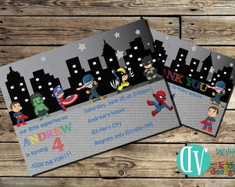 Superheroes Birthday Invitation  Birthday Party Printable -  5x7 or 4x6 and FREE Thank You Card Printable 5x3.5