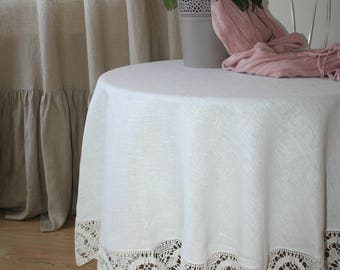 White linen Tablecloth with lace, Linen Tablecloth