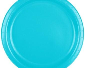 "25 (9"") Bermuda Blue Round Paper Plate, Wedding Supplies, Wedding, Wedding Decor, Plastic Plates, Party Supplies, Paper Plates, Wedding"