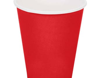 100 ct Red Poly Paper Cups 9oz Hot/Cold, Party Supplies, Wedding Supplies, Party, Wedding, Paper Cups, Beverage Cups, Cups, Supplies